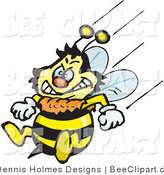 Vector Clip Art of a Yellow Honey Bee Character Flying with His Stinger at the Ready by Dennis Holmes Designs