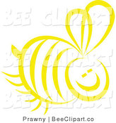 Vector Clip Art of a Yellow Honey Bee on White by Prawny