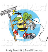 Vector Clip Art of a Yellow Worker Bee Carrying a Rake and Watering Can and Ready to Work in a Garden by Andy Nortnik