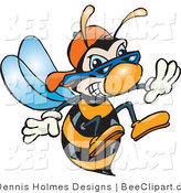 Vector Clip Art of an Aggressive Hornet Bee with Stinger by Dennis Holmes Designs