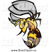 Vector Clip Art of an Aggressive Stinging Bee by Chromaco