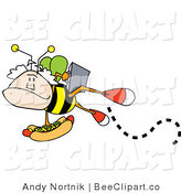 Vector Clip Art of an Elderly Mans Head on a Bee's Body, Carrying a Briefcase and a Hotdog Topped with Mustard and Relish by Andy Nortnik