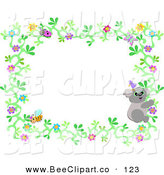 Vector Clip Art of an Ivy Flower Border with a Ladybug, Koala and Bee by