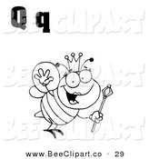 Vector Clip Art of an Outlined Queen Bee with Letters Q on White by Hit Toon