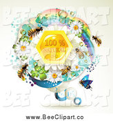 Vector Clip Art of Bee over Natural Honeycombs in a Round Rainbow Floral Frame by Merlinul