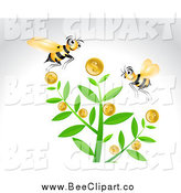 Vector Clip Art of Bees and a Coin Money Tree on Gray by