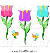 Vector Clip Art of Bees and Colorful Tulips by