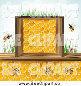 Vector Clip Art of Bees and Honeycombs in a Wood Box by Merlinul