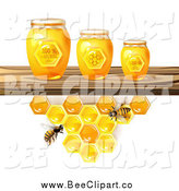 Vector Clip Art of Bees and Honeycombs Under a Shelf with 3d Jars by Merlinul