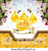 Vector Clip Art of Bees and Honeycombs with a Natural Label by Merlinul