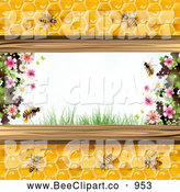 Vector Clip Art of Bees and Honeycombs with Blossoms by Merlinul