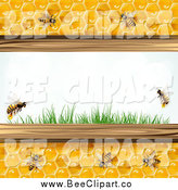 Vector Clip Art of Bees and Honeycombs with Grass by Merlinul