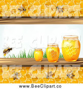 Vector Clip Art of Bees and Honeycombs with Three Jars and Grass by Merlinul