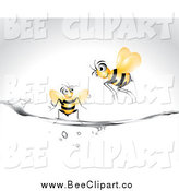 Vector Clip Art of Bees and Water by