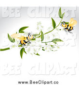 Vector Clip Art of Bees and White Blossoms over Gray by