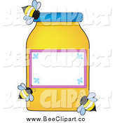 Vector Clip Art of Bees Around a Honey Jar with a Blank Label by Maria Bell
