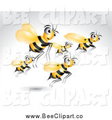 Vector Clip Art of Bees Flying over Gray by
