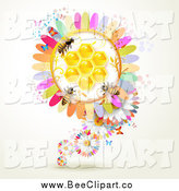 Vector Clip Art of Bees on a Colorful Honey Comb Flower by Merlinul