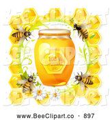 Vector Clip Art of Bees on a Honeycomb Border with Daisies and a Jar of Natural Honey by Merlinul