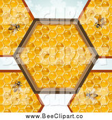 Vector Clip Art of Bees on Honey Combs with a Hexagon Center over Clovers by Merlinul