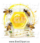 Vector Clip Art of Bees over a Honeycomb Daisy with a Natural Guarantee Seal and Banner by Merlinul