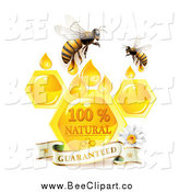 Vector Clip Art of Bees over Honeycombs and Drops with a Daisy and Guaranteed Banner by Merlinul