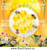 Vector Clip Art of Bees over Honeycombs and Orange with Flowers by Merlinul
