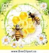 Vector Clip Art of Bees over Honeycombs in a Diasy Frame on Yellow by Merlinul