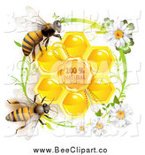Vector Clip Art of Bees over Honeycombs in a Green Daisy Frame, with Text by Merlinul