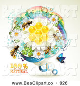 Vector Clip Art of Bees over Honeycombs in a Round Rainbow Floral Frame by Merlinul