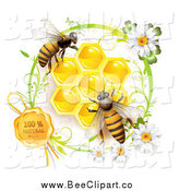 Vector Clip Art of Bees over Honeycombs with a Daisy with a Natural Wax Seal by Merlinul