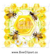 Vector Clip Art of Bees over Natural Honeycombs in a Daisy Frame by Merlinul