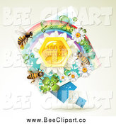 Vector Clip Art of Bees over Natural Honeycombs in a Diamond Rainbow Floral Frame by Merlinul