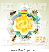 Vector Clip Art of Bees over Natural Honeycombs in a Rainbow Floral Frame by Merlinul
