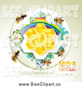 Vector Clip Art of Bees over Natural Honeycombs in a Round Rainbow Floral Frame by Merlinul