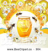 December 12nd, 2013: Vector Clip Art of Bees with a Honey Jar Dew and Daisies over a Guaranteed Banner by Merlinul