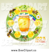 Vector Clip Art of Bees with a Jar of Honey and Honeycombs in a Round Rainbow Floral Frame by Merlinul