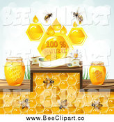 Vector Clip Art of Bees with Honey Jars and a Natural Banner by Merlinul
