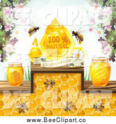 Vector Clip Art of Bees with Honey Jars Blossoms and a Natural Guaranteed Banner by Merlinul