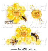 Vector Clip Art of Bees with Natural Honeycombs and Wax Seal by Merlinul