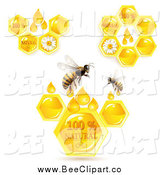 Vector Clip Art of Bees with Natural Honeycombs by Merlinul