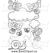Vector Clip Art of Black and White Birds Clouds Bees Snails and Butterflies by Any Vector