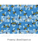 Vector Clip Art of Buzzing Honey Bees on a Solid Blue Background by Prawny