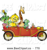 July 14th, 2013: Vector Clip Art of Cheerful Animals Riding in a Red Vintage Car by Lal Perera