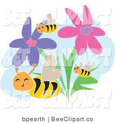 Vector Clip Art of Happy Bees Flying Through Pink and Purple Flowers by