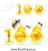 Vector Clip Art of Honey Bees and Natural Combs by Merlinul