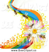 Vector Clip Art of Honey Bees on a Daisy Rainbow Wave by Merlinul