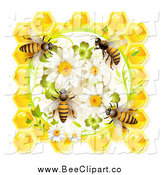 Vector Clip Art of Honey Bees on Daisies and Clovers with Honeycombs by Merlinul
