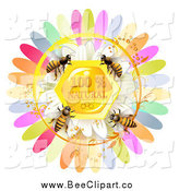 Vector Clip Art of Honey Bees over a Natural Honeycomb with Daisy and Colorful Petals by Merlinul