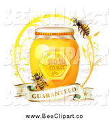 Vector Clip Art of Honey Bees with a Jar and a Guaranteed Banner by Merlinul